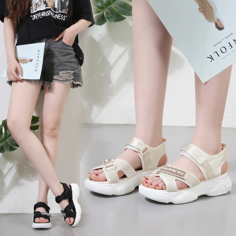 Hong Kong fashion brand sandals fairy style summer 2020 new Korean versatile fashion thick heel sports flat muffin shoes