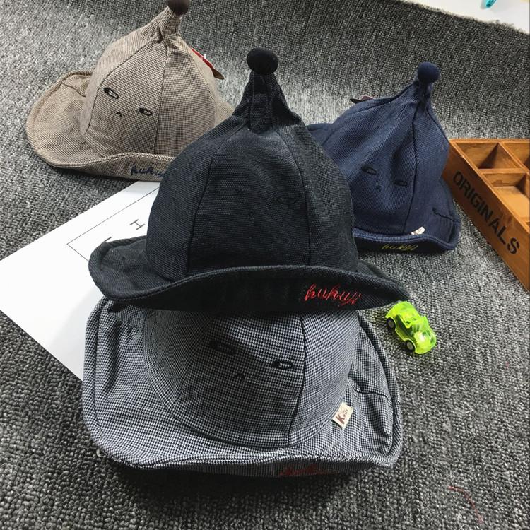 儿童渔夫帽春秋批发男童女童婴儿帽子可爱潮个性宝宝表情小巫盆帽