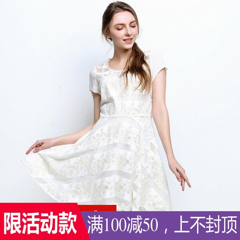 【100减50】MK系列高端女装品牌撤柜折扣尾货夏蕾丝裙简约连衣裙