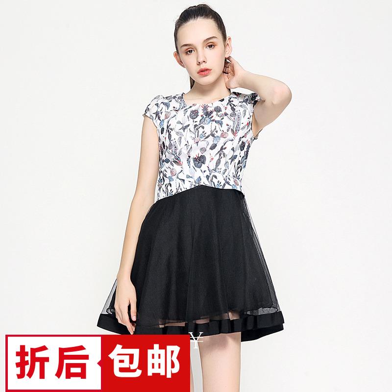【5折包邮】QB系列杭派女装品牌剪标折扣店尾货夏印花纱网连衣裙