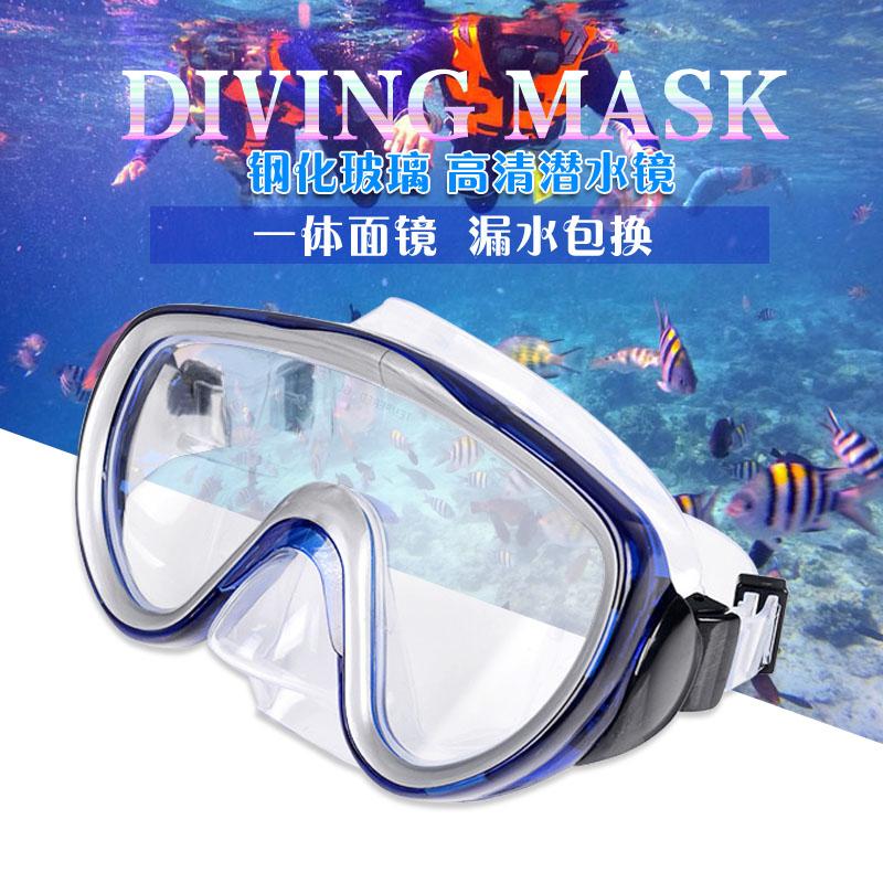 成人潜水装备男女通用大镜框玻璃面罩浮潜面镜护目眼镜游泳潜水镜