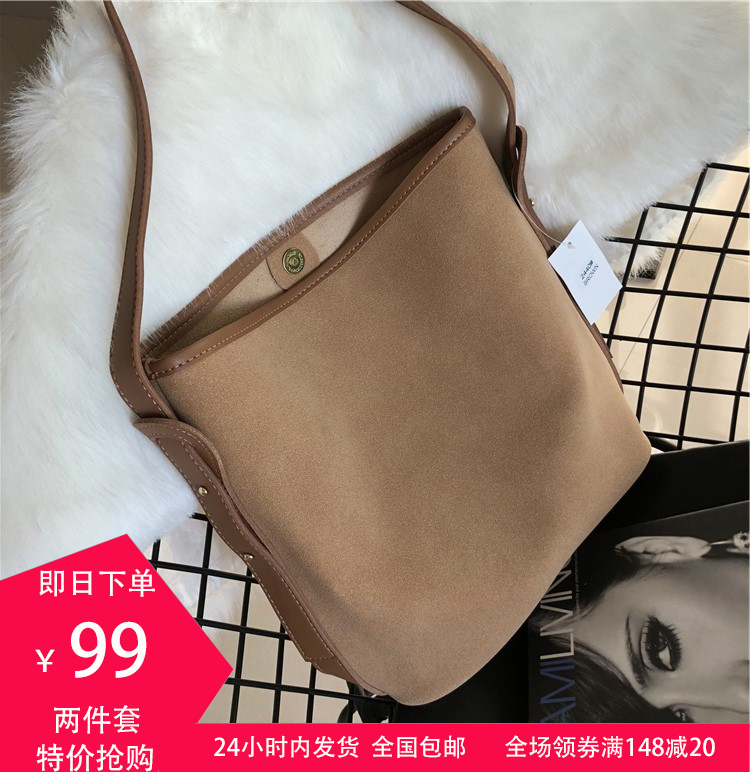 Ym2019 new fashion Korean version versatile portable one shoulder straddle mother pack suede large capacity leather bag for women