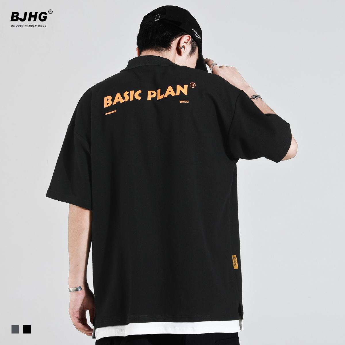 BJHG 夏短袖T恤POLO衫潮牌男港风2020宽松假两件开叉翻领五分中袖