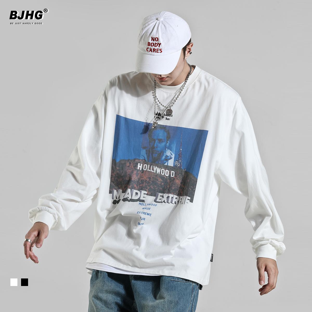 BJHG春季好莱坞印花卫衣男潮牌欧美街头嘻哈宽松长袖圆领套头上衣