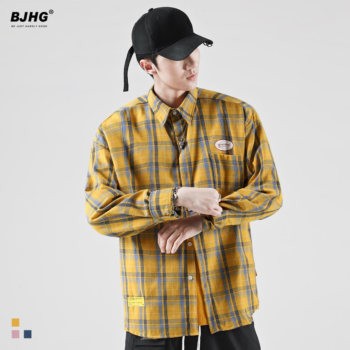 BJHG不计后果秋韩版衬衣格子衫男潮牌英伦风复古嘻哈宽松长袖衬衫(非品牌)