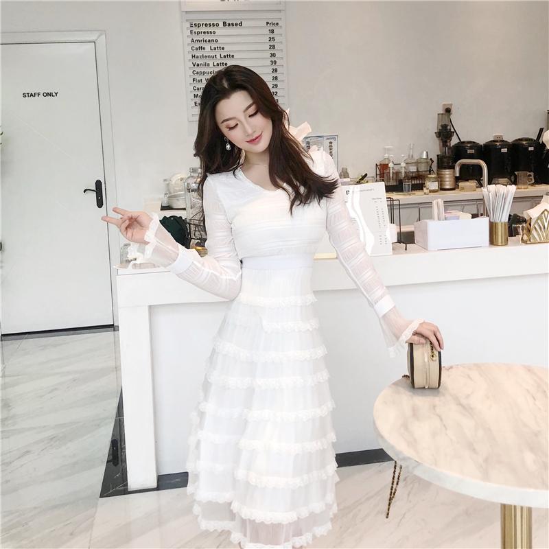 2019新款秋季白色超仙气质连衣裙