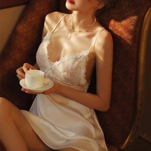 深夜芭蕾睡衣女春夏薄款性感蕾絲美背誘惑內衣冰絲吊帶睡裙家居服