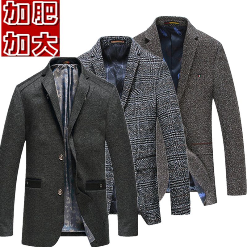 Fall / winter 2018 tweed plus plus size mens casual suit extra large fat man plaid coat