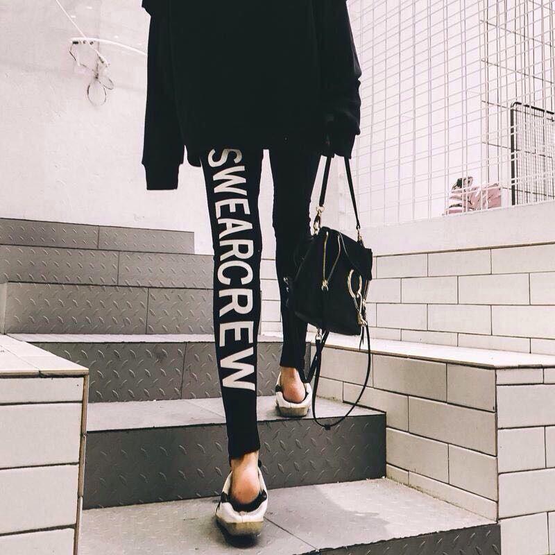 韩版运动打底裤女外穿大码紧身纯棉高腰九分春秋季薄款显瘦小脚裤