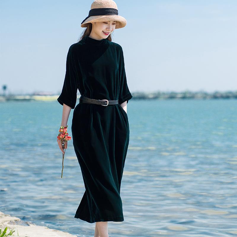 心生意【岁月不惊】真丝丝绒连衣裙优雅范茧型长裙晚礼袍子长裙