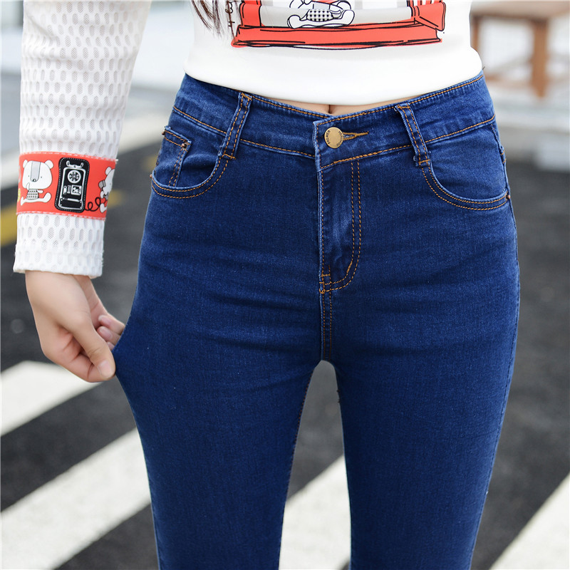 New high waisted jeans womens 2018 summer and Korean slim legged pants thin pencil pants student Capris