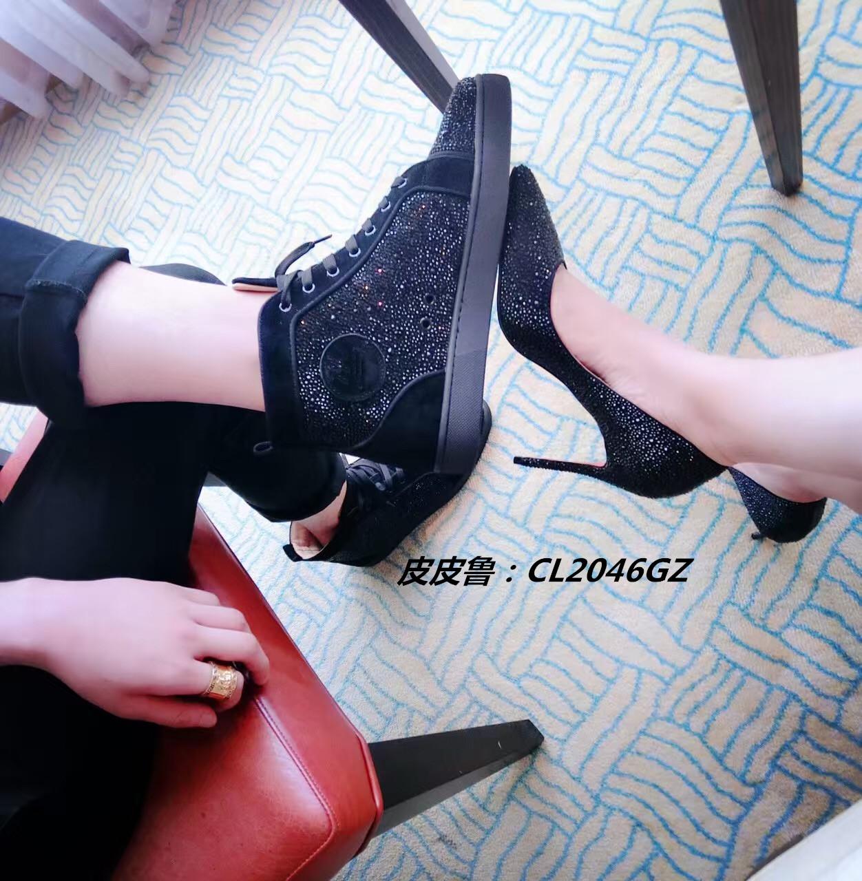 CL经典黑麂皮水钻高帮鞋18-GZ情侣款男鞋女鞋红底休闲鞋板鞋短靴