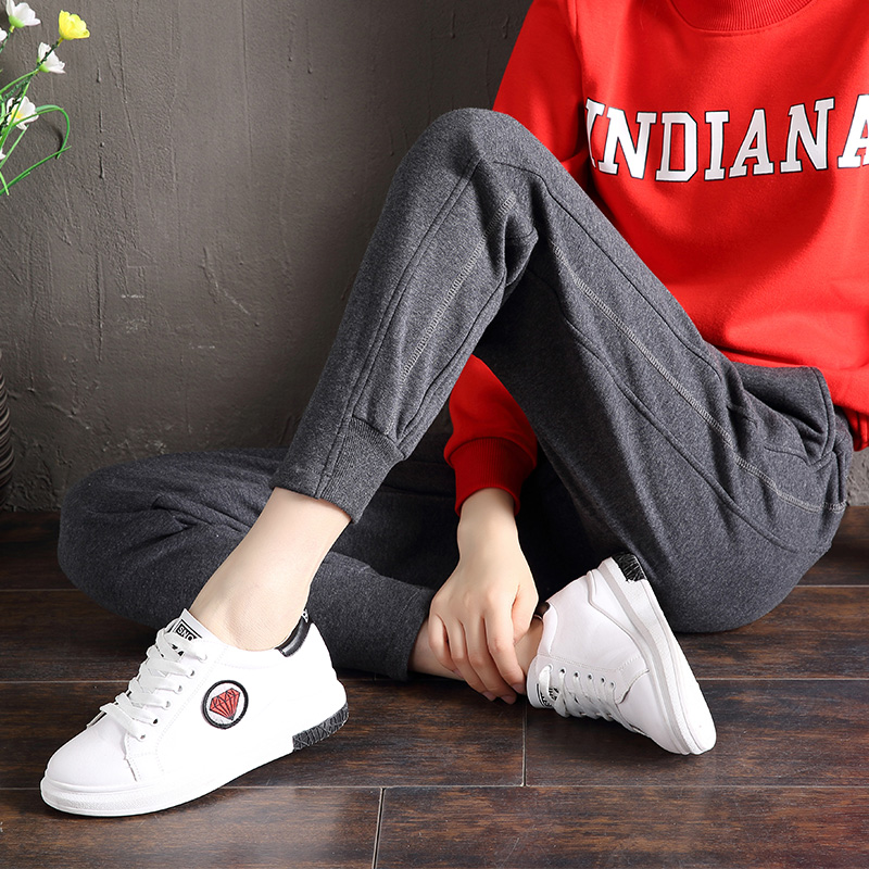 89 points Plush sportswear pants women wear pants thin spring winter loose casual students show thin Harun pure cotton