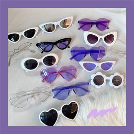 紫色系ins欧美复古朋克土酷蹦迪少女猫眼墨镜三角圆形太阳眼镜小图片