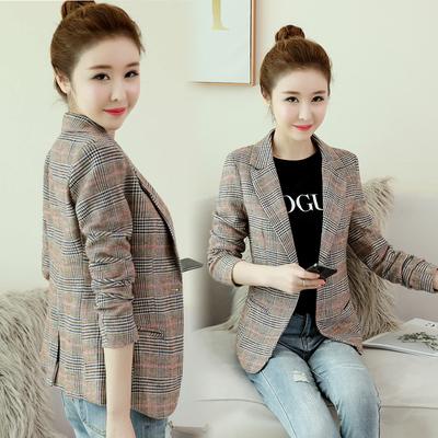 小西裝女外套韓版2020春秋新款女裝修身格子毛呢外套女西服短款潮