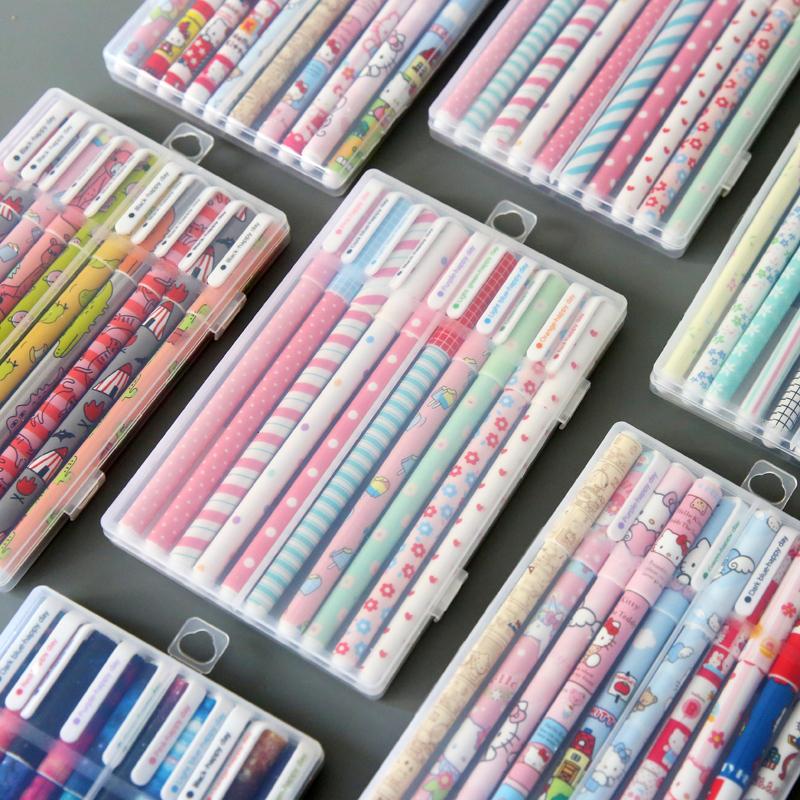韩国创意可爱复古小清新学生用彩色水笔中性笔黑色简约水性笔套装