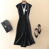 奢华高端欧美大牌女装裙子黑色修身显瘦包臀鱼尾中长款礼服包臀春