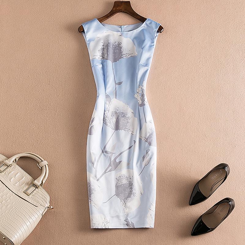 2018夏新款优雅时尚气质女装印花裙修身精品连衣裙中长款显瘦大码