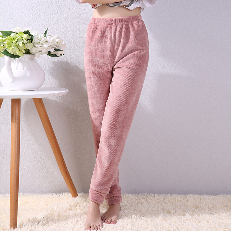 Nightwear womens autumn and winter coral velvet trousers thickened flannel warm pants loose necked warm pants can be worn outside home pants