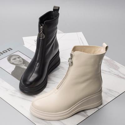 欧洲站2020春秋短靴真皮厚底坡跟女鞋前拉链机车中筒靴时尚马丁靴