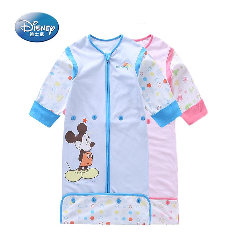 2018夏新正品迪士尼宝宝睡袋可调节长度脱袖儿童成长睡袋全棉薄款