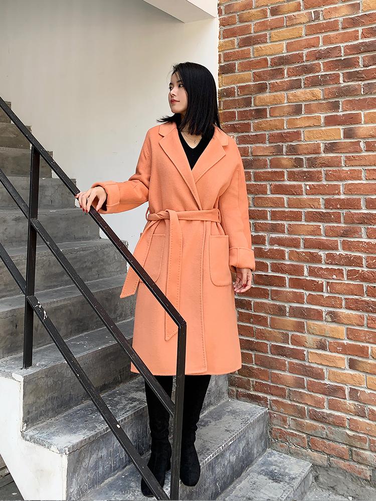 2020春季新款双面羊毛橘色韩版双面呢大衣过膝双面羊毛呢外套女潮