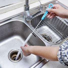 加长可弯曲管道刷下水道疏通器卫浴厨房水池疏通刷水槽毛发清理器图片