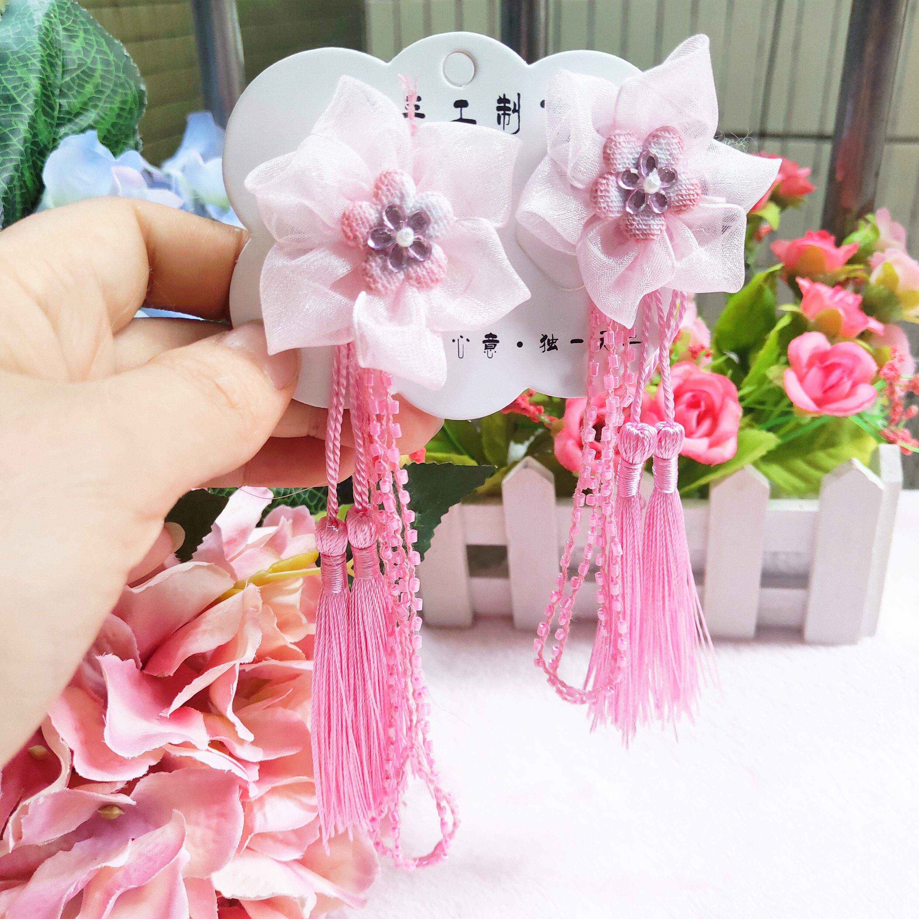 Girls sweet pink antique hairpin long ribbon hairpin 2020 new tassel pendant a pair of flower special price