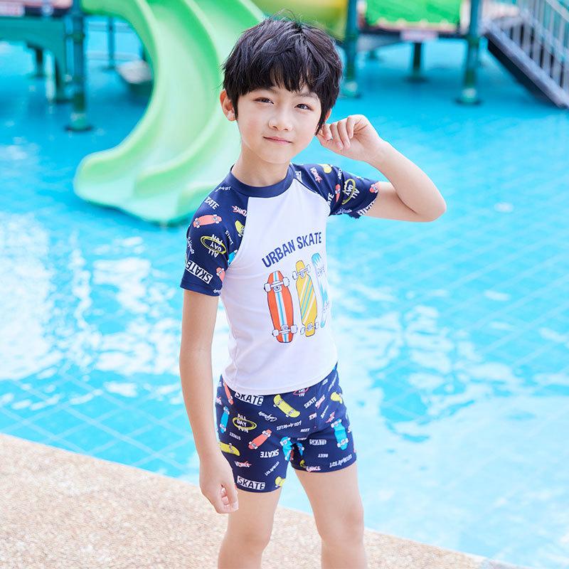 儿童泳衣男童泳裤2021新款分体宝宝小中大童泳衣套装温泉游泳装备
