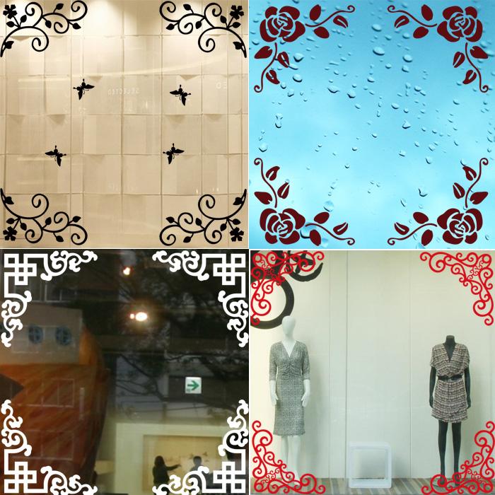 唯美欧式玻璃门窗对角花贴纸 橱窗装饰家具玻璃镜子拐角花墙贴花