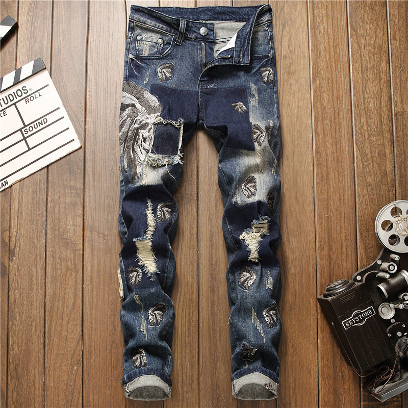 Original design autumn and winter new European and American fashion black embroidery Indian mens elastic perforated jeans