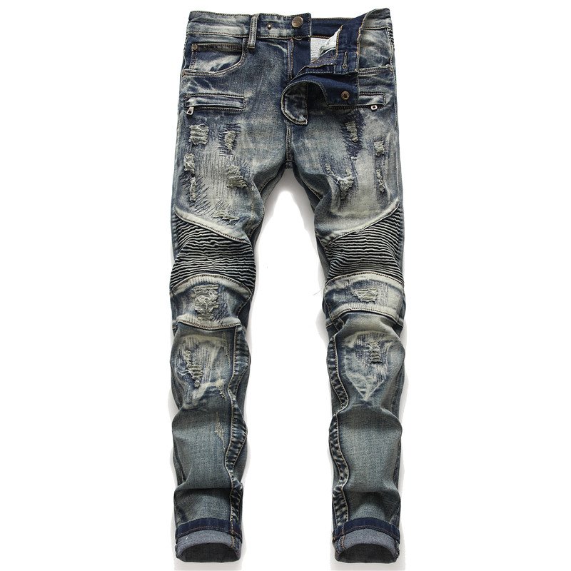 Amazon hot selling original design stitching hole patch mens small straight elastic motorcycle jeans