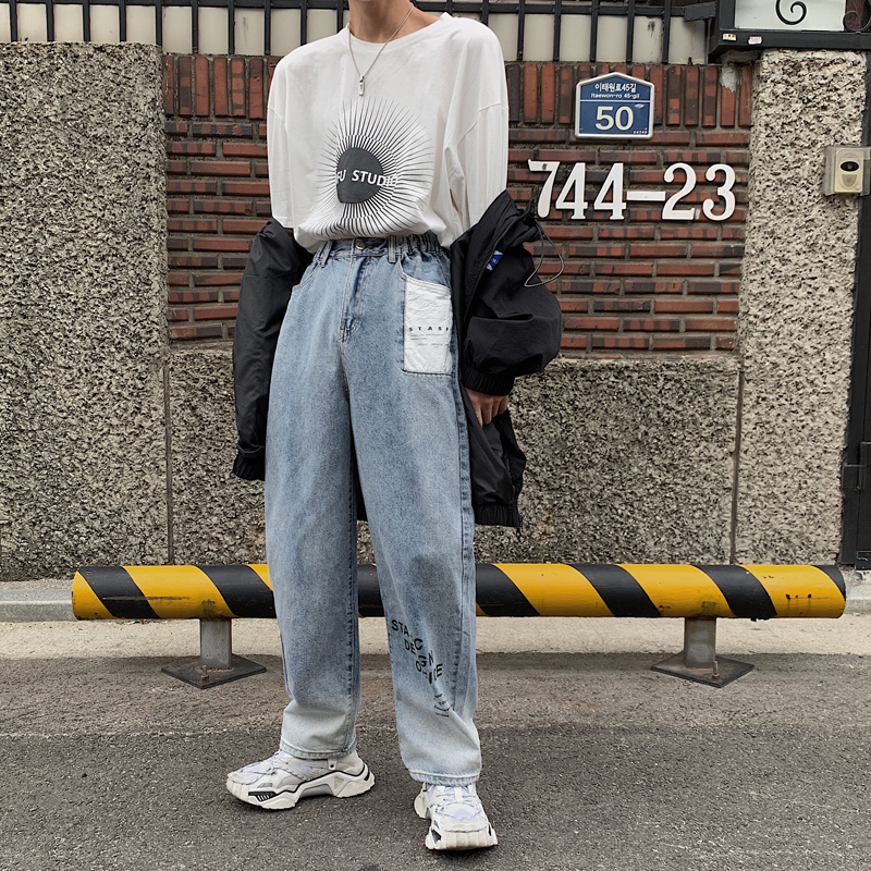 Autumn winter mens Hong Kong Style ins trend casual jeans student loose straight jeans pants b327-n03-p60