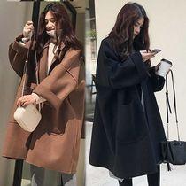 秋冬款宽松oversize廓形毛呢外套女韩版中长款大码茧型呢子大衣潮