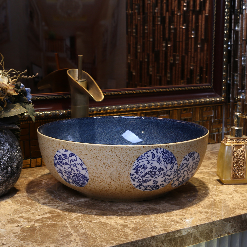 景焱青花瓷台上盆景德鎮陶瓷洗臉盆中式台盆小號藝術盆圓形洗手盆