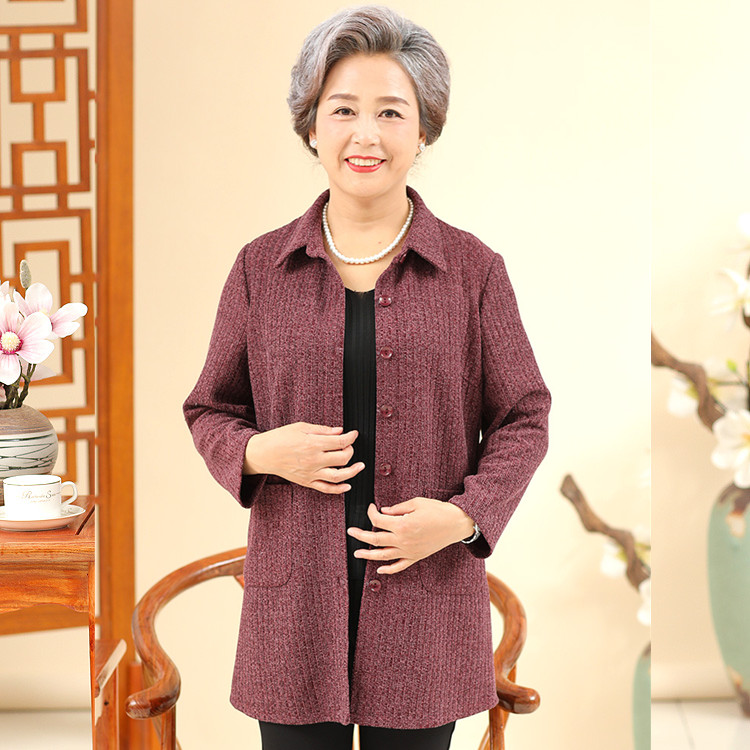Mothers single coat windbreaker shirt super large middle-aged and old womens thin coat temperament mothers new top