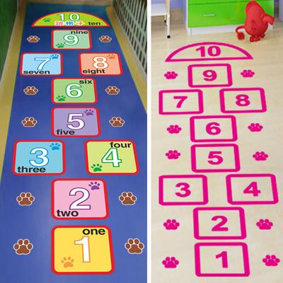 跳房子地贴纸跳格子学校幼儿园客厅墙贴画儿童房卧室数字防水3004