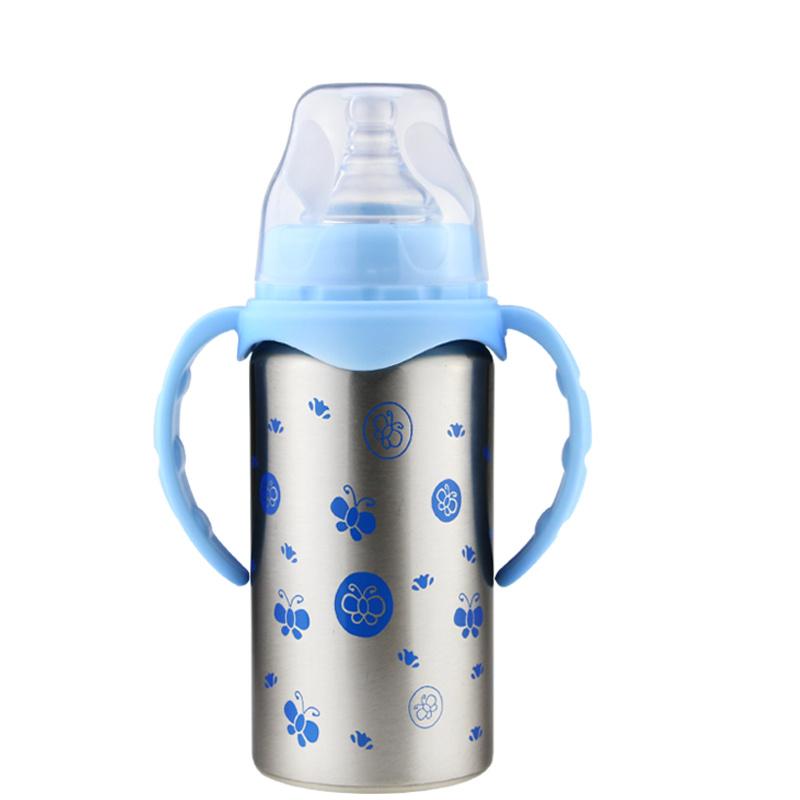 大促销双层保温奶瓶宝宝牙胶安抚奶嘴宽口径不锈钢奶瓶奶嘴吸管杯