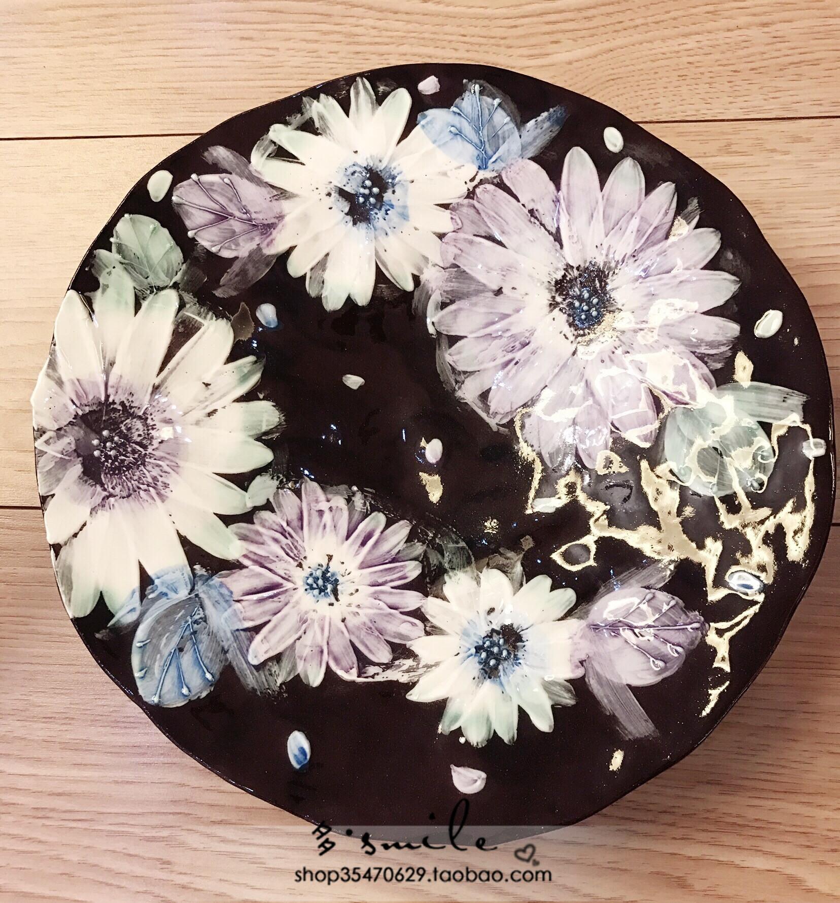现货日本进口濑户烧繁花人工手绘釉下彩波斯菊日式料理大盘装饰盘
