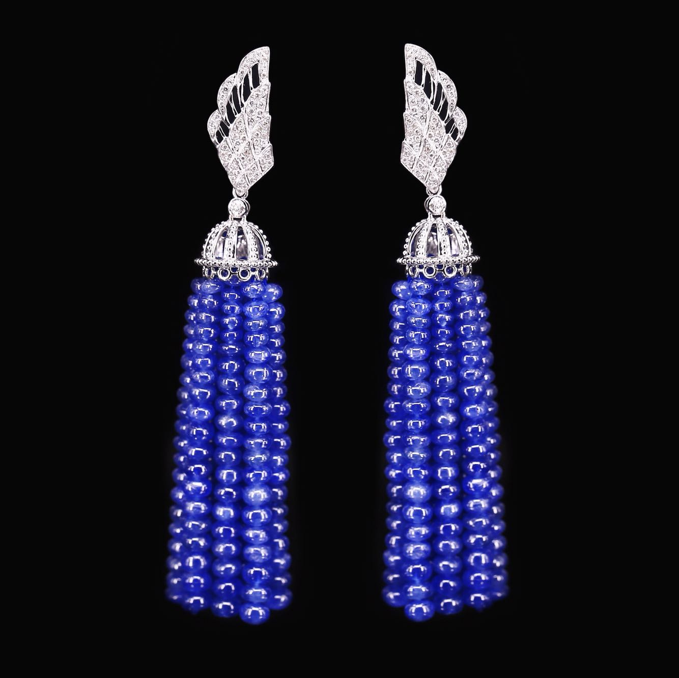 Designer Sapphire Diamond Tassel Earrings ~ the upper part of the earrings is shaped by platinum and diamond wings