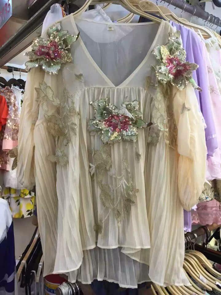 Новый роскошный тяжелый v шеи блестками вышивки цветочный фонарь рукав шифон loose