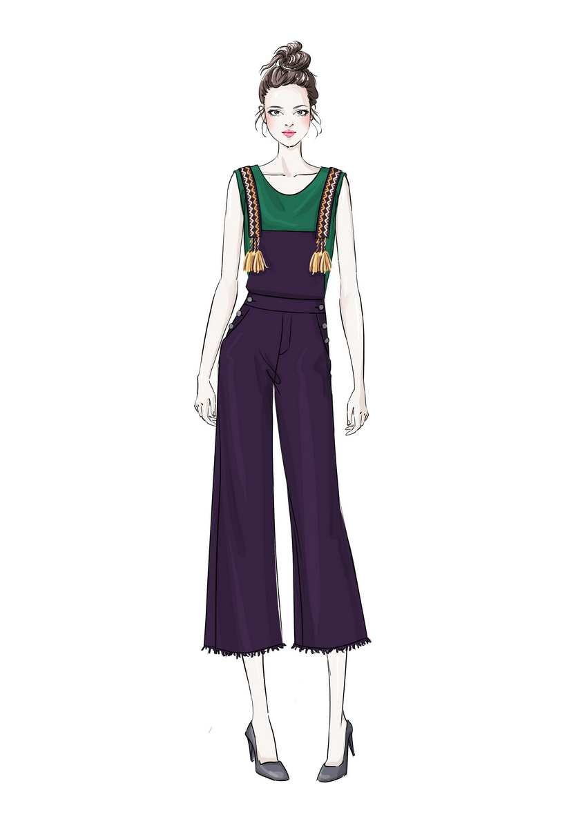 Summer womens clothing Hong Kong style retro fashionable Wide Leg Pants Set celebrity little fragrance embroidery suspenders two piece set for women Xia