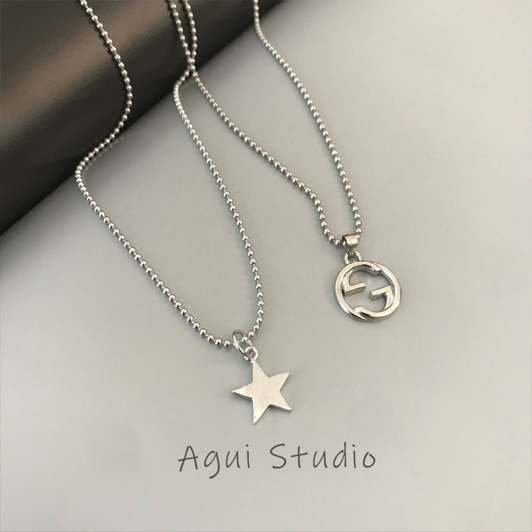 Agui / Star Necklace female Sterling Silver 925 silver clavicle chain double G letter Pentagram pendant small design