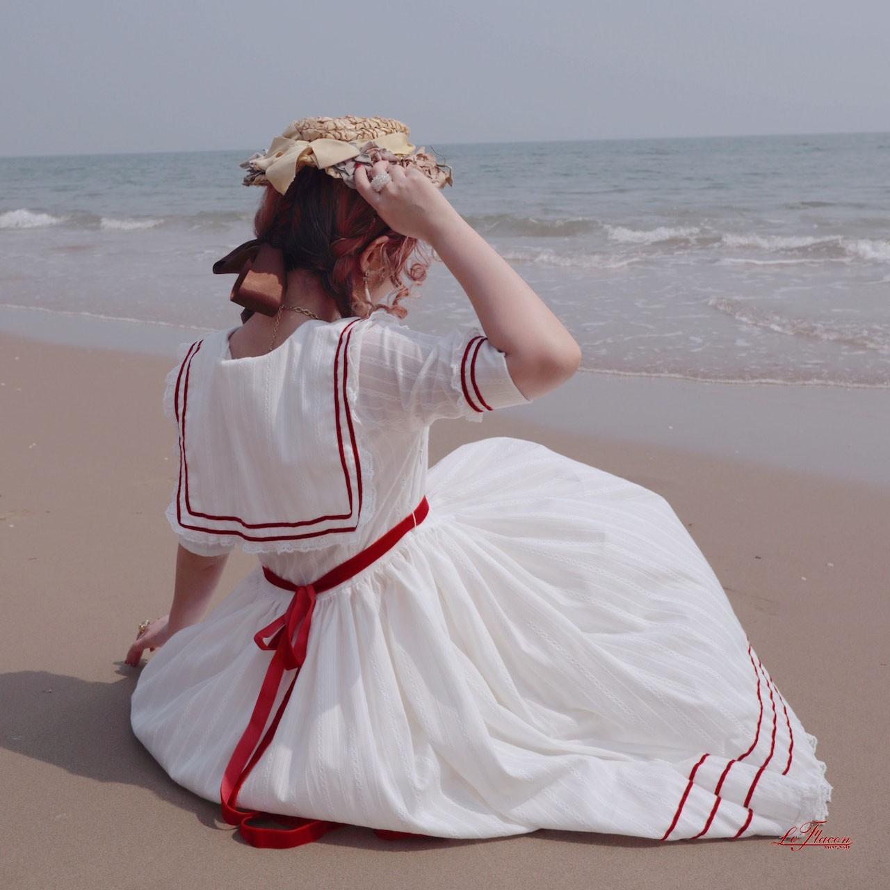 leFlacon SailorLullaby*法式复古少女条纹刺绣红线水手连衣裙