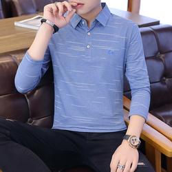 春季韩版长袖商务透气polo衫男棉t恤卫衣男翻领衬衫领蓝9605P37