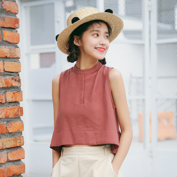 Summer loose sleeveless high waist exposed navel outer wear ruffled short Hong Kong style vest sling blouse T-shirt bottoming shirt