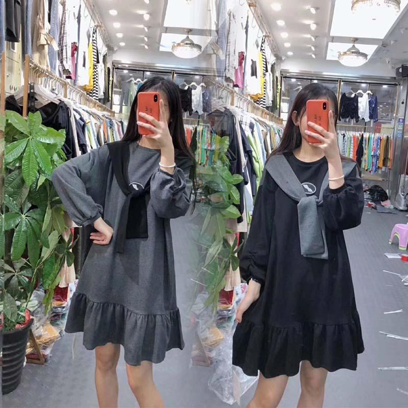 11月30日最新优惠假两件披肩连衣裙卫衣女学生秋季新款拼接宽松韩版长袖娃娃鱼尾裙