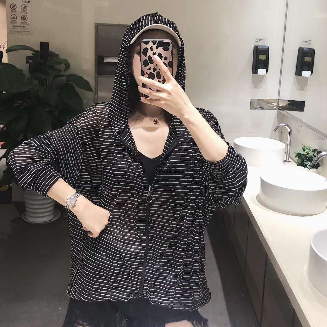 Korean ins trendy sports style summer stripe hooded sunscreen shirt womens thin coat loose long sleeves with sunscreen