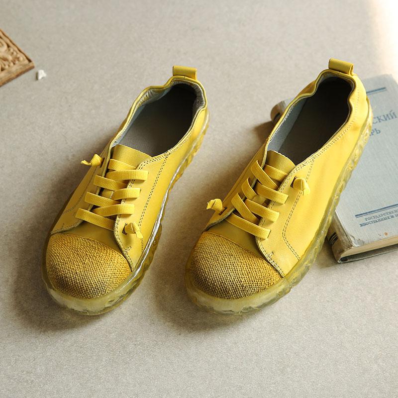 拙雅 牛皮棉麻拼接弹力绳低跟女鞋真皮小白鞋透明软底单鞋19年春