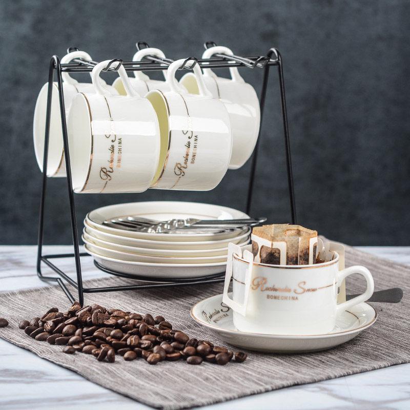 四福 欧式 小奢华陶瓷咖啡杯套装 创意简约家用咖啡杯子下午茶杯